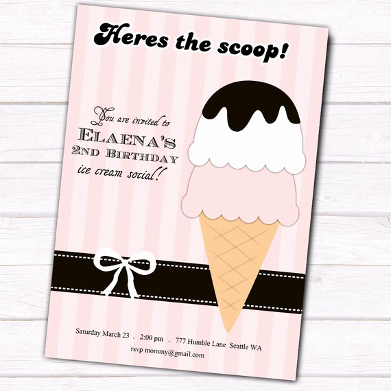 Ice Cream social Invitation Templates Beautiful Items Similar to Vintage Ice Cream social Invitation