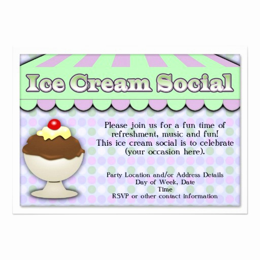 Ice Cream social Invitation Templates Elegant Ice Cream social Purple Green Stripe Sundae 5x7 Paper