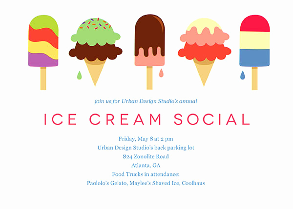 Ice Cream social Invitation Templates Fresh Fice Party Invitations