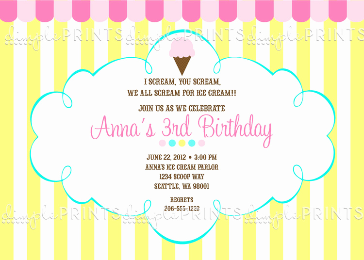 Ice Cream social Invitation Templates Fresh Ice Cream social Printable Party Invite Dimple Prints Shop