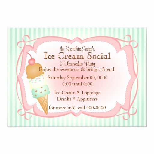Ice Cream social Invitation Templates Inspirational Old Fashioned Ice Cream social Card