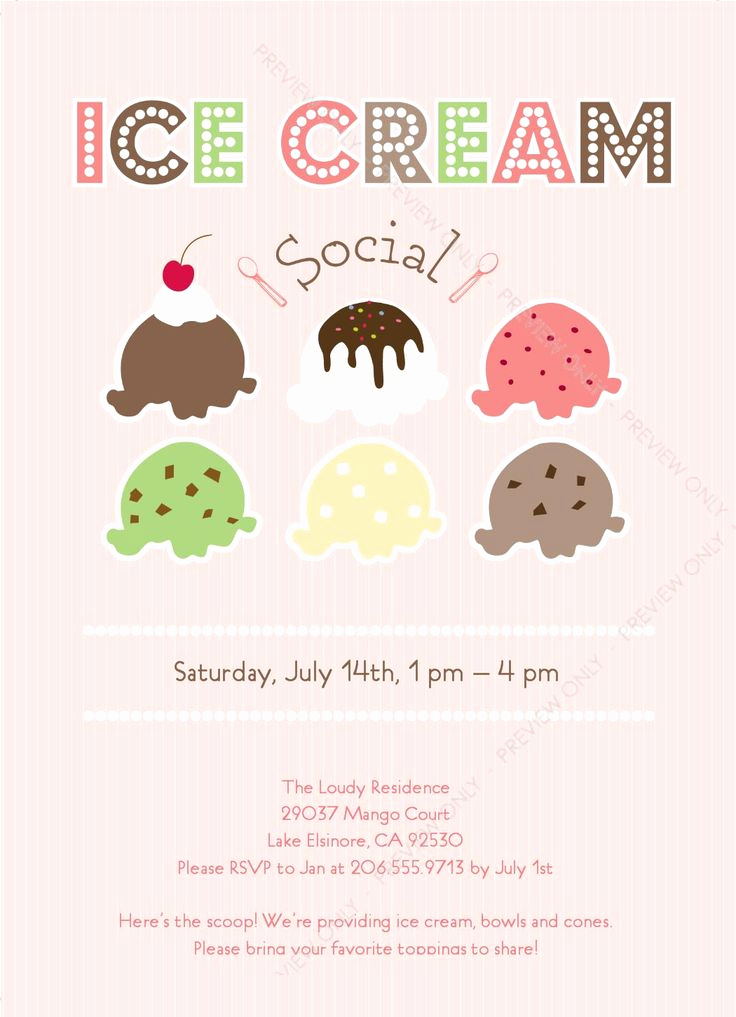 Ice Cream social Invitation Templates Lovely Ice Cream social Invitation Party Ideas