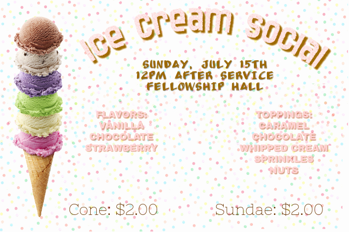 Ice Cream social Invitation Templates Luxury Ice Cream social Template