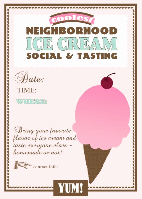 Ice Cream social Invitation Templates New 35 Best Images About Neighborhood Party On Pinterest