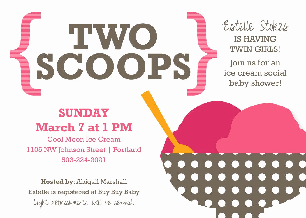 Ice Cream social Invitation Wording Awesome Baby Shower Invitation for Twins Ice Cream social theme