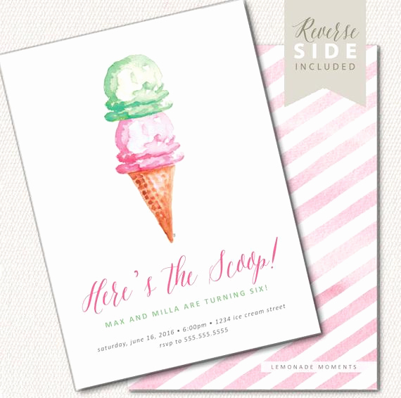 Ice Cream social Invitation Wording Beautiful Ice Cream Invitation Watercolor Printable for Ice Cream