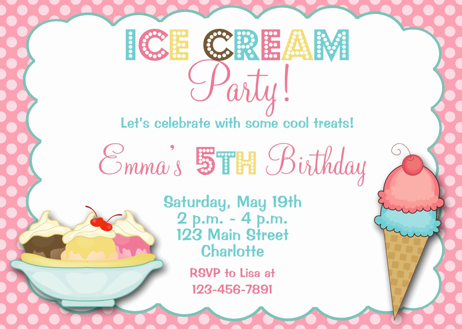 Ice Cream social Invitation Wording Beautiful Ice Cream Party Birthday Invitation Ice Cream by