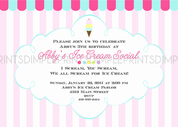 Ice Cream social Invitation Wording Beautiful Ice Cream social Printable Party Invitation Dimple