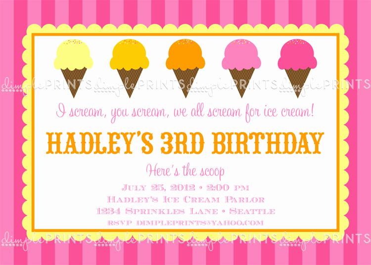 Ice Cream social Invitation Wording Beautiful Ice Cream social Printable Party Invitation Dimple