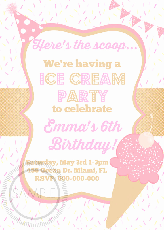 Ice Cream social Invitation Wording Elegant Ice Cream social Birthday Party Invitation