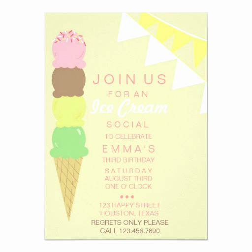 Ice Cream social Invitation Wording Fresh Ice Cream social Party Invitation