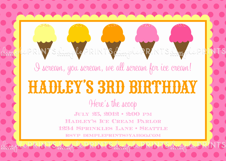 Ice Cream social Invitation Wording Fresh Ice Cream social Printable Party Invitation Dimple