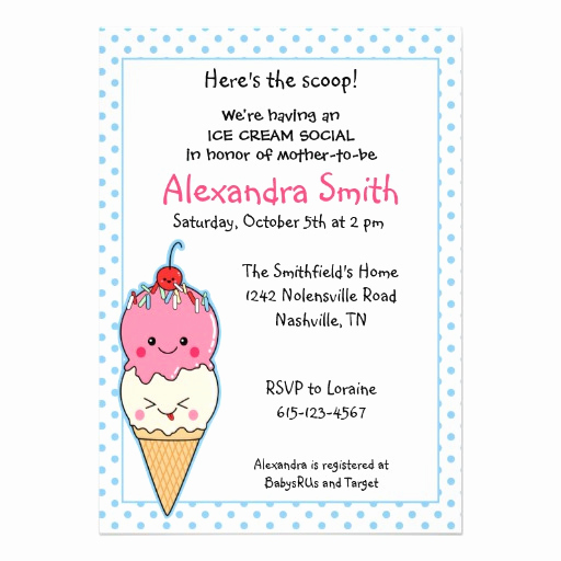 Ice Cream social Invitation Wording Lovely Ice Cream social Baby Shower 5x7 Paper Invitation Card