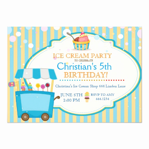 Ice Cream social Invitation Wording Luxury Ice Cream social Birthday Party Boy Invitations