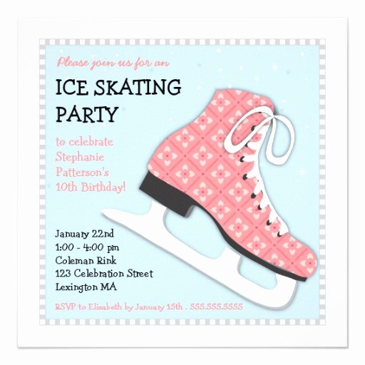 Ice Skate Party Invitation Beautiful Funky Girl Ice Skating Birthday Party 5 25x5 25 Square