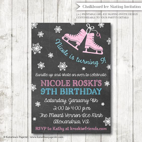 Ice Skate Party Invitation Best Of Chalkboard Ice Skating Birthday Party Invitation Ice