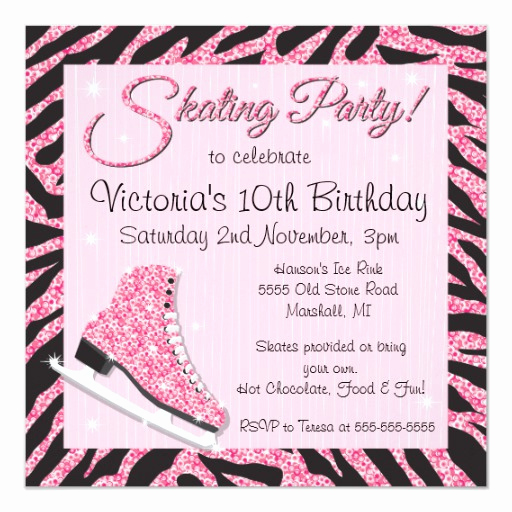 Ice Skate Party Invitation Best Of Sequin Glittering Ice Skating Party Invitations