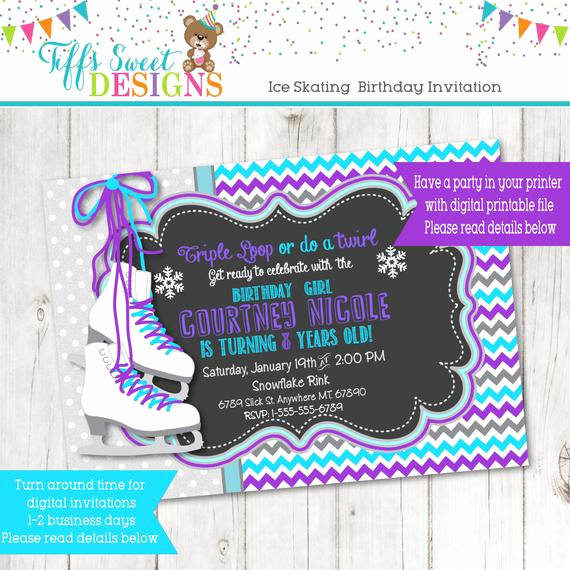 Ice Skate Party Invitation Elegant Ice Skate Invitation Ice Skating Birthday Party Winter