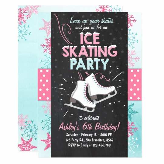 Ice Skate Party Invitation Elegant Ice Skating Birthday Invitation Skate Winter Pink