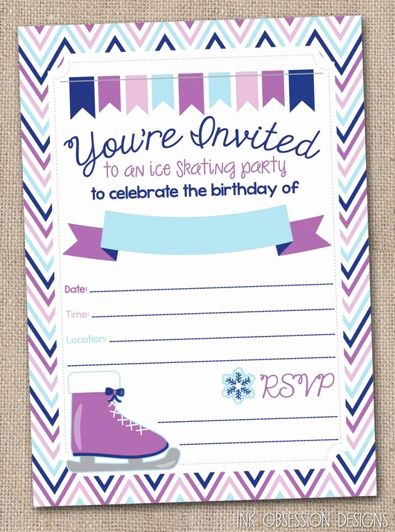 Ice Skate Party Invitation Elegant Instant Download Ice Skating Birthday Party by