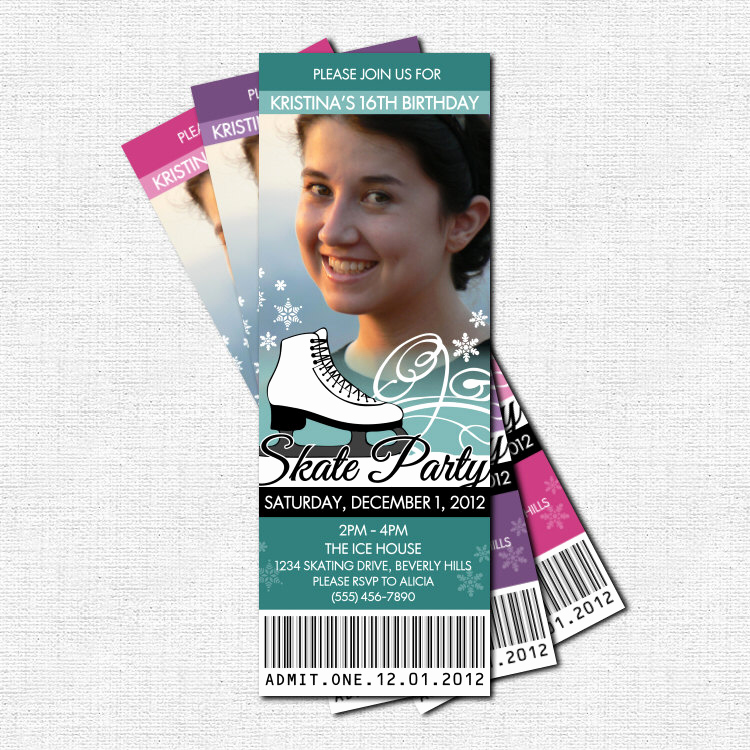 Ice Skate Party Invitation Lovely Ice Skating Ticket Invitations Birthday Party Print Your