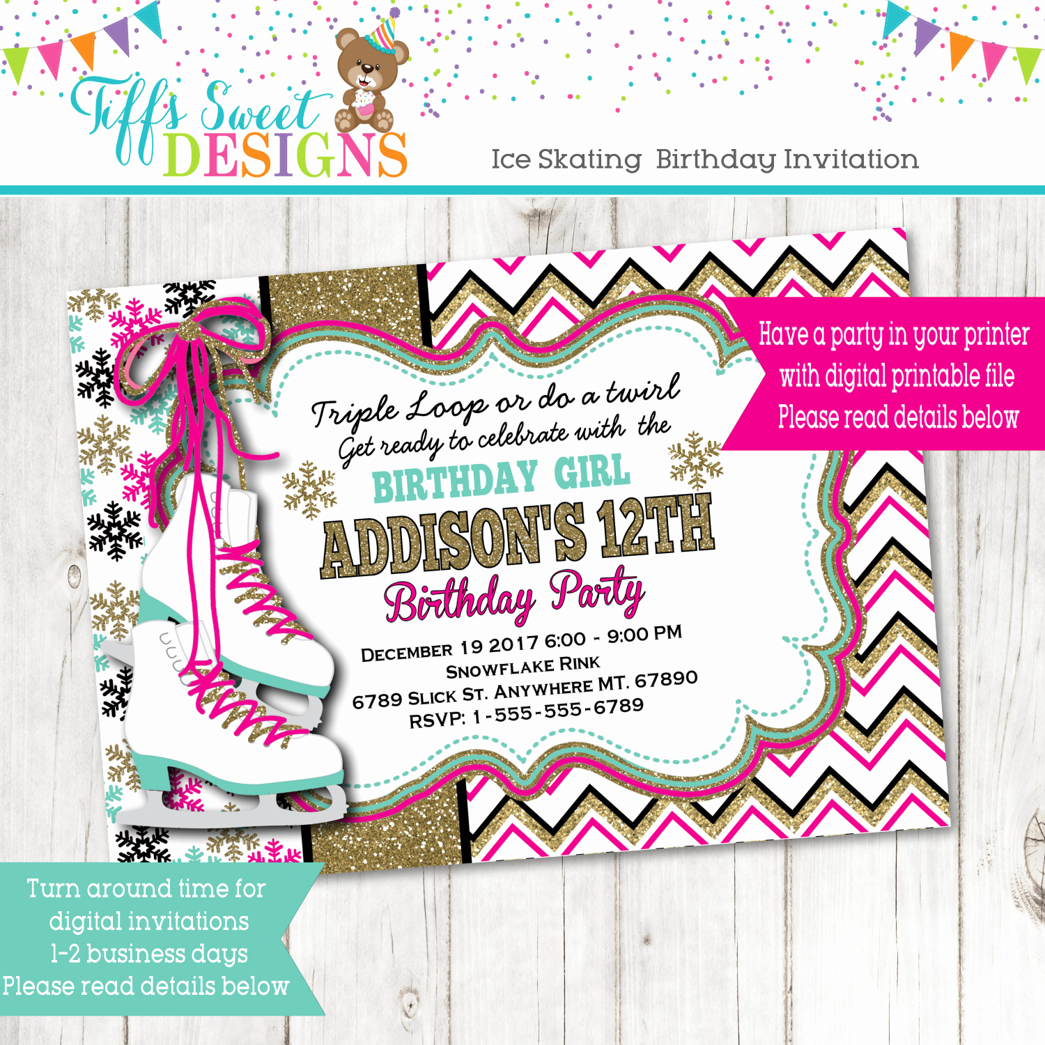Ice Skate Party Invitation Luxury Ice Skating Birthday Party Invitation Ice Skate Party Gold