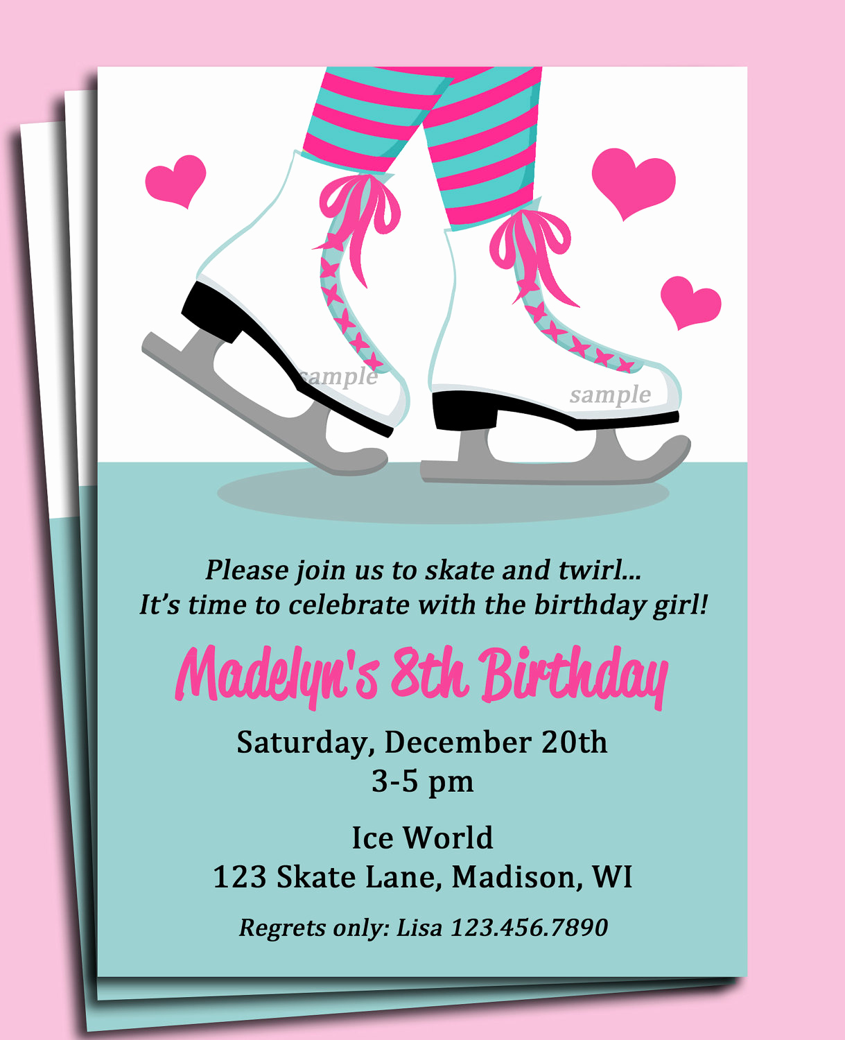 Ice Skate Party Invitation Luxury Ice Skating Invitation Printable or Printed with Free Shipping