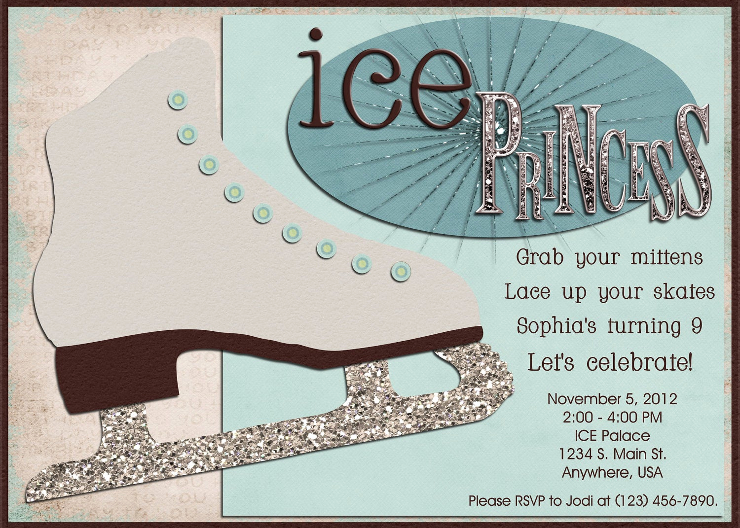 Ice Skate Party Invitation New Ice Skating Birthday Party Digital Invitation Blue Brown