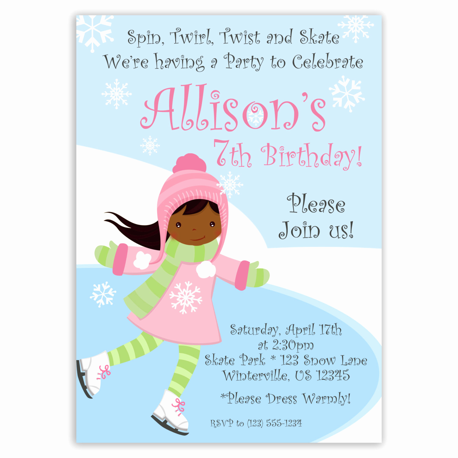 Ice Skate Party Invitation New Ice Skating Invitation Frozen Winter Pond and Snow Cute