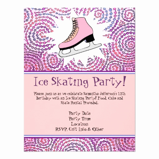 "Ice Skate Party Invitation Unique Pink Personalized Ice Skating Party Invitation 4 25"" X 5 5"