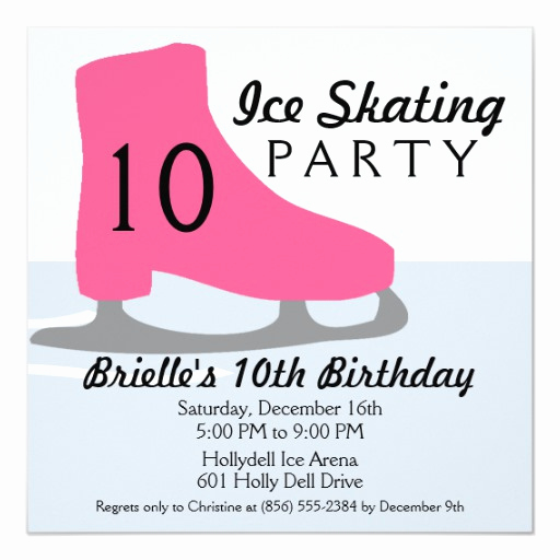 Ice Skating Party Invitation Awesome Berry Pink Skate Date Ice Skating Birthday Party