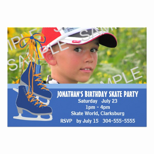 Ice Skating Party Invitation Awesome Boy S Ice Skating Party 5x7 Paper Invitation Card