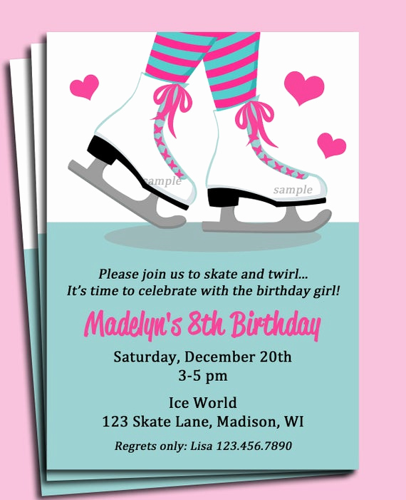 Ice Skating Party Invitation Awesome Ice Skating Invitation Printable or Printed with Free