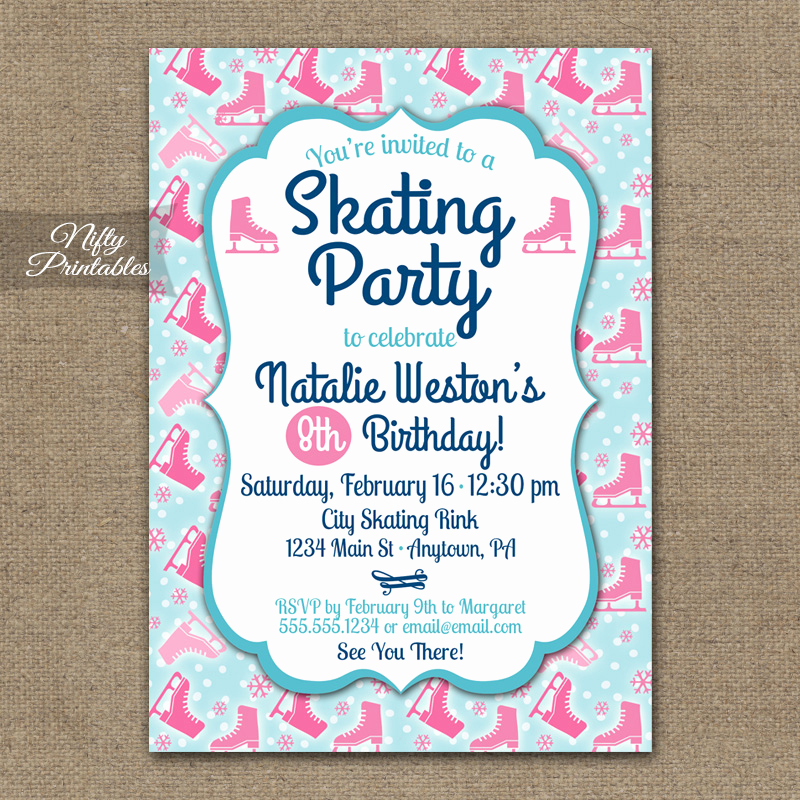 Ice Skating Party Invitation Best Of Ice Skating Invitations Nifty Printables