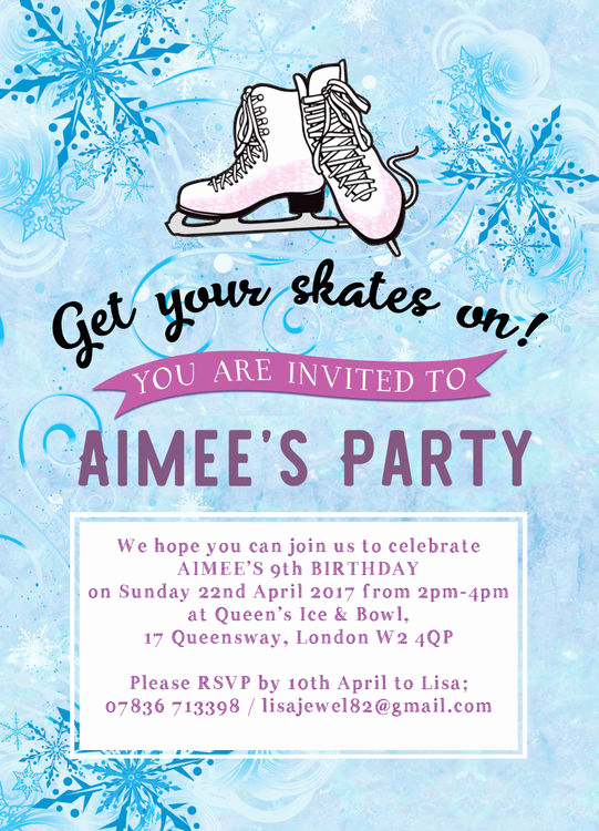 Ice Skating Party Invitation Elegant Ice Skating Birthday Party Invitation From £0 80 Each
