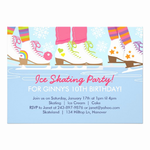 Ice Skating Party Invitation Elegant Ice Skating Party for Girls 5x7 Paper Invitation Card