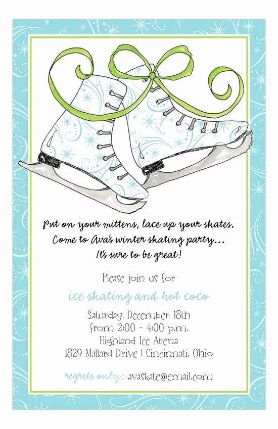 Ice Skating Party Invitation Luxury Holiday Ice Skates Invitation