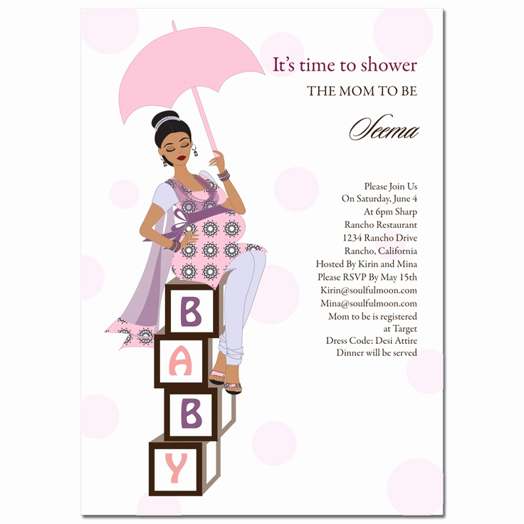 Indian Baby Shower Invitation Elegant Diva Baby Blocks Indian Baby Shower Invitation by soulful