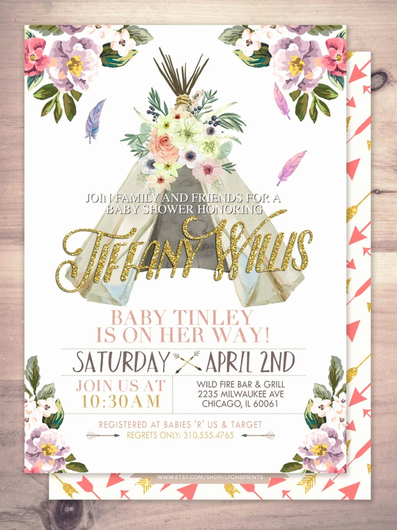 Indian Baby Shower Invitation New Teepee Baby Shower Invitation Indian Baby Shower Invite