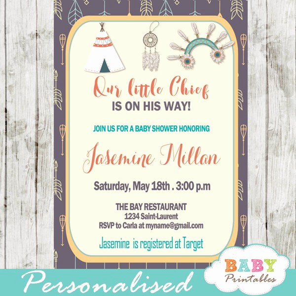 Indian Baby Shower Invitation Wording Awesome Native American Baby Shower Invitation Tribal Arrows