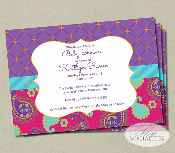 Indian Baby Shower Invitation Wording Best Of Moroccan Baby Shower Invitation Fuchsia & Purple Paisley