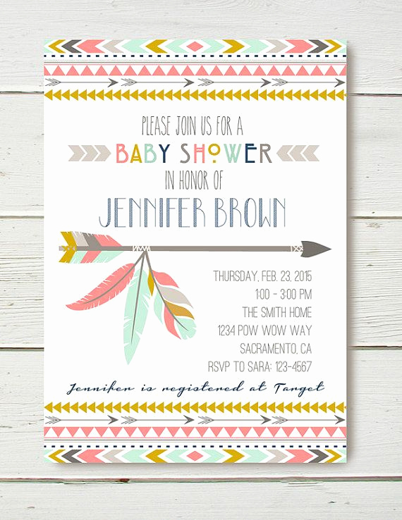 Indian Baby Shower Invitation Wording Elegant Tribal Shower Invitation Girl