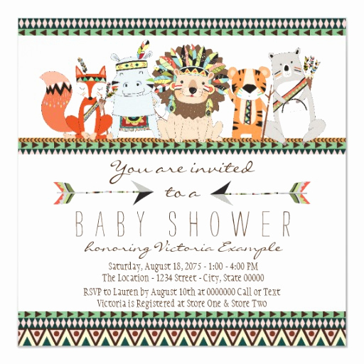 Indian Baby Shower Invitation Wording Fresh Tribal Animal Native Indian Baby Shower Card