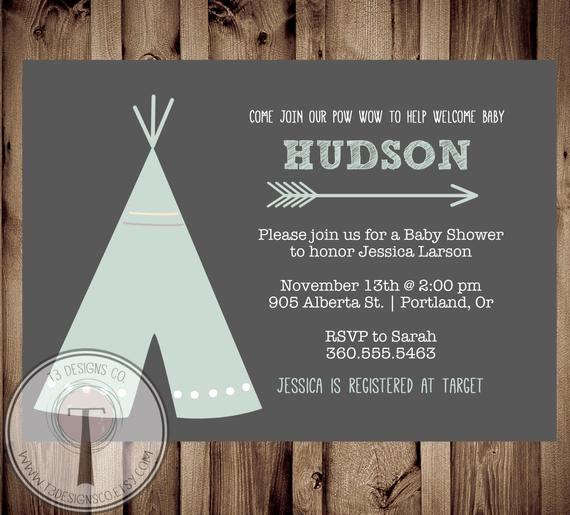 Indian Baby Shower Invitation Wording Inspirational Teepee Baby Shower Invitation Indian Baby Shower Invite