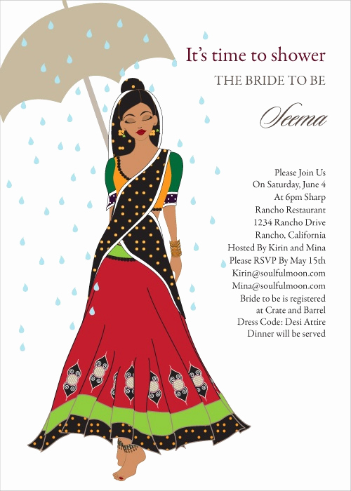 Indian Baby Shower Invitation Wording Luxury Catwalk Umbrella Indian Bridal Shower Invitations by