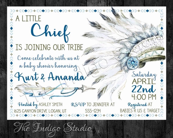 Indian Baby Shower Invitation Wording New Tribal Native American Indian Baby Shower Invitation Baby Boy