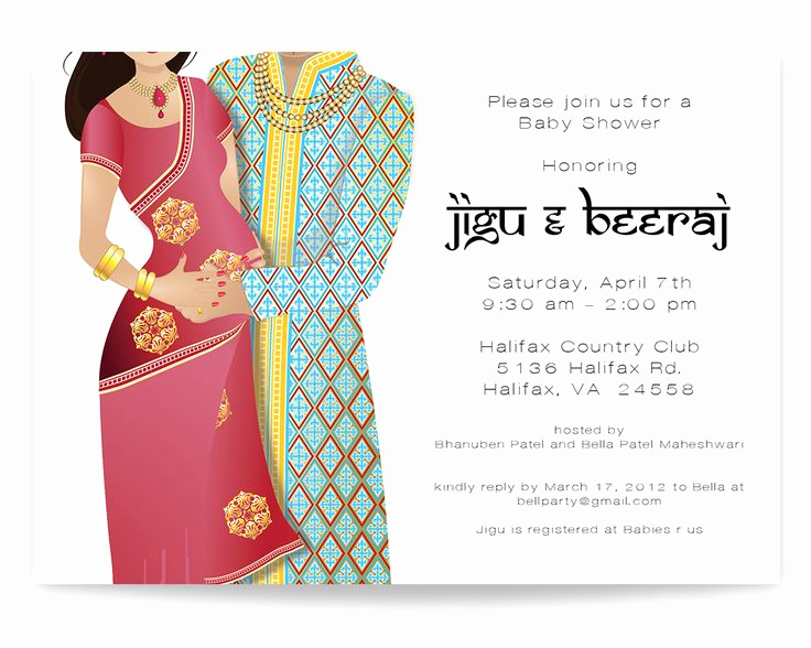 Indian Baby Shower Invitation Wording Unique Indian Baby Shower Invitation Indian Couple Baby Shower