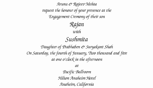 Indian Engagement Invitation Wording Awesome Collections Of Wording Templates