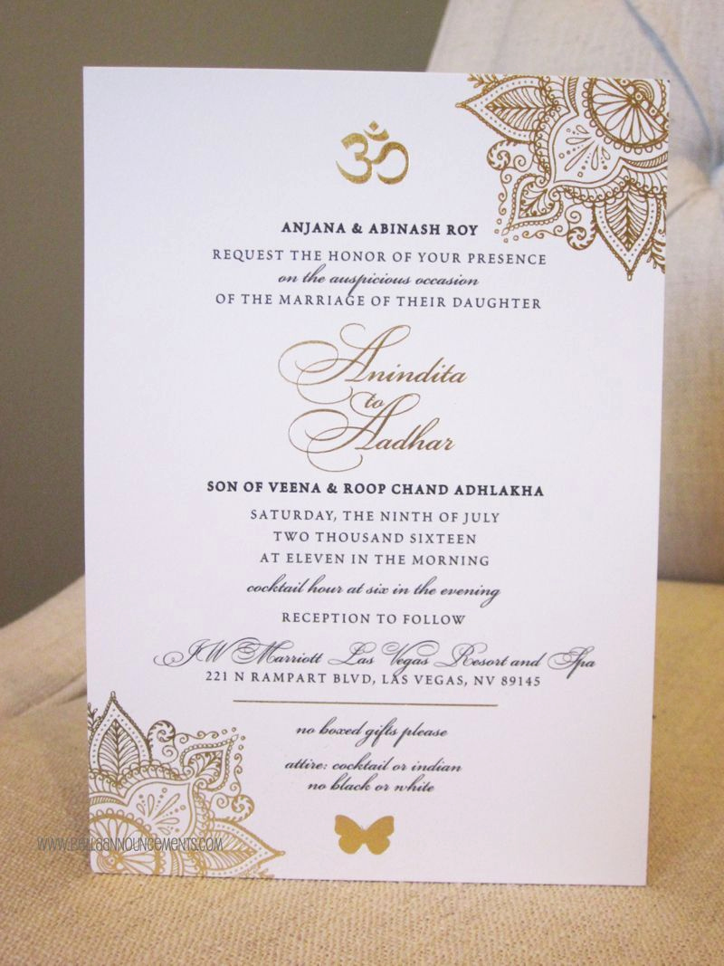 Indian Wedding Invitation Sample Awesome 5x7 Announcement Indian Wedding Gold Foil Invitation