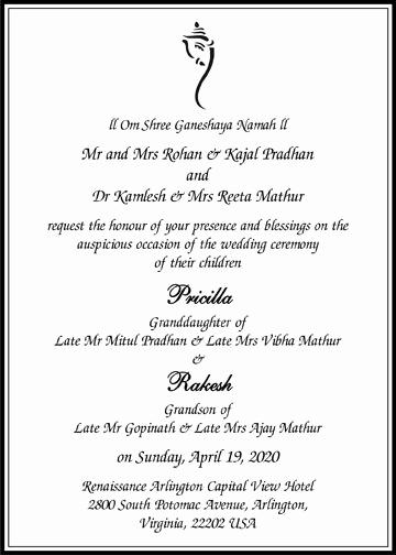 Indian Wedding Invitation Sample Awesome Hindu Wedding Invitation Card Wordings Parekh Cards